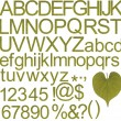 Stock Photo: Green alphabets, numbers and special characters