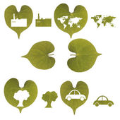 Green leaf, car, industry, world map and tree isolated — Stock Photo