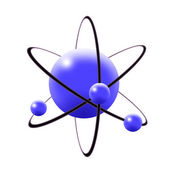 Atom in blue — Stock Photo