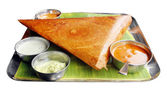 Masala dosa with variety of chutney and sambar — Stock Photo