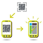 Cellphone scanning QR code and showing success — Stock Vector