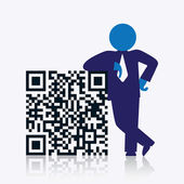 QR code with savvy businessman — Stock Vector