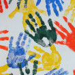 Stock Photo: Colorful hand imprints