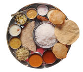Traditional indian lunch food and meals — Stock Photo