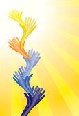 Barevné pomocnou rukou podporovat jeden druhého — Stock vektor