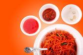 Fried noodles, Chow mein, Schezwan noodles — Stock Photo