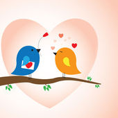 Two love birds in love - valentine day — Stock Vector