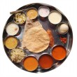 Постер, плакат: Indian plate meals with chapatti rasam and sambar