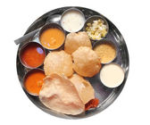 Traditional south indian lunch with puri and sambar — Stock Photo