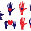 Hand and heart symbols showing various concepts — Imagen vectorial