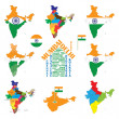 India map, indian cities, states and india flag — Stock Vector