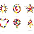 Royalty-Free Stock ベクターイメージ: Colorful circular shapes arranged to form symbols