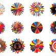 Colorful circular concentric geometric shapes - Image vectorielle