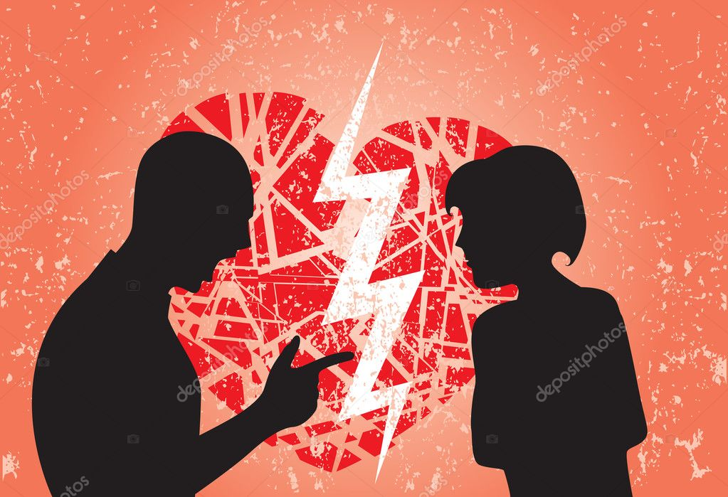 Man and woman having break up. Image showing broken heart on a grunge background. — Grafika wektorowa #9161292