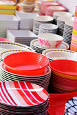 Colorful melamine, ceramic and plastic bowls — Foto Stock