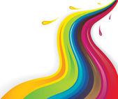 Colorful splash liquids flowing in wavy pattern — Stock Vector