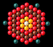 Colorful snooker balls arrange in hexagonal shape — Stock Photo