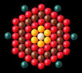 Colorful snooker balls arrange in hexagonal shape — Stock Photo