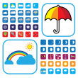 Weather icons set showing 50+ signs and symbols — Stock Vector #9943744