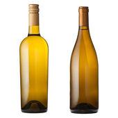 White wine bottles on white — Stock Photo