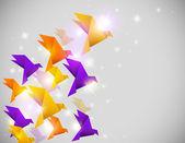 折り紙の鳥と抽象的な背景 — ストックベクタ