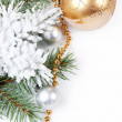 Stock Photo: Golden decorations and fir branch