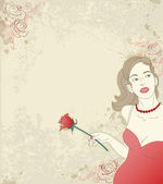 Girl with red rose — Stock Vector