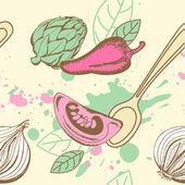 Modello senza saldatura con verdure — Vettoriale Stock