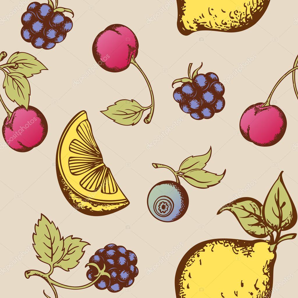 复古矢量无缝模式与水果和浆果