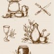 Antique tableware — Stock Vector #9903668