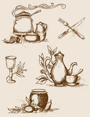 Antique tableware — Stock Vector