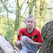 Teenage boy in the forest — Foto Stock