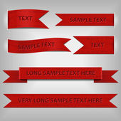 Set of red ribbons — Vector de stock