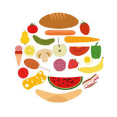 Foods in circle — Stock Vector