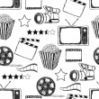Doodle movie seamless pattern — Vettoriale Stock #8026896