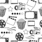 Doodle movie seamless pattern — Vettoriale Stock