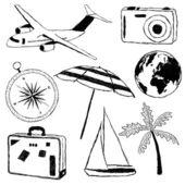 Doodle cestování obrázky — Stock vektor
