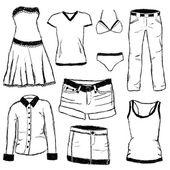 Rabisco roupas — Vetor de Stock