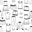 Stock Vector: Doodle clothes pattern