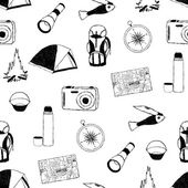 Doodle camp seamless pattern — Stock Vector