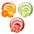 Fruits with decoration — Stock Vector