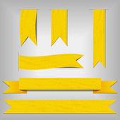 Satz von gelben bänder — Stockvektor