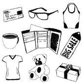 Foto's met winkelen thema doodle — Stockvector