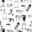 Doodle seamless pattern with shopping theme — Imagen vectorial