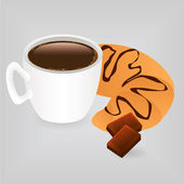 Coffee and croissant — Vector de stock