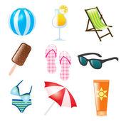 Iconos de verano — Vector de stock