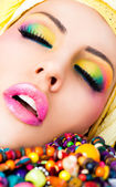 Lips lipstick make-up colourful — Stock Photo