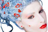 Portrait of frozen woman face — Stock Photo