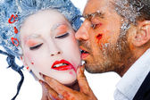 Frozen kiss red lipstick — Stock Photo