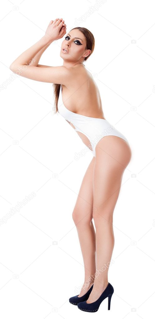 Sexy female with swimsuit and high heels isolated — Stock Photo #8544857